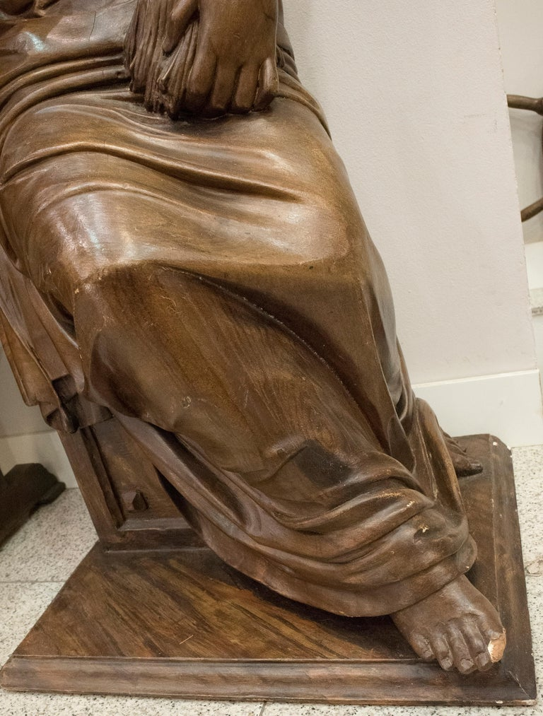 Mid-19th Century 19th Century French Napoleón III Walnut Wood Sculpture, Allegory of Summer For Sale
