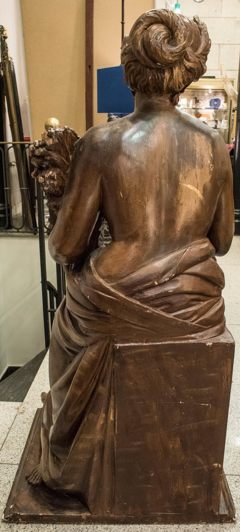 19th Century French Napoleón III Walnut Wood Sculpture, Allegory of Summer For Sale 1