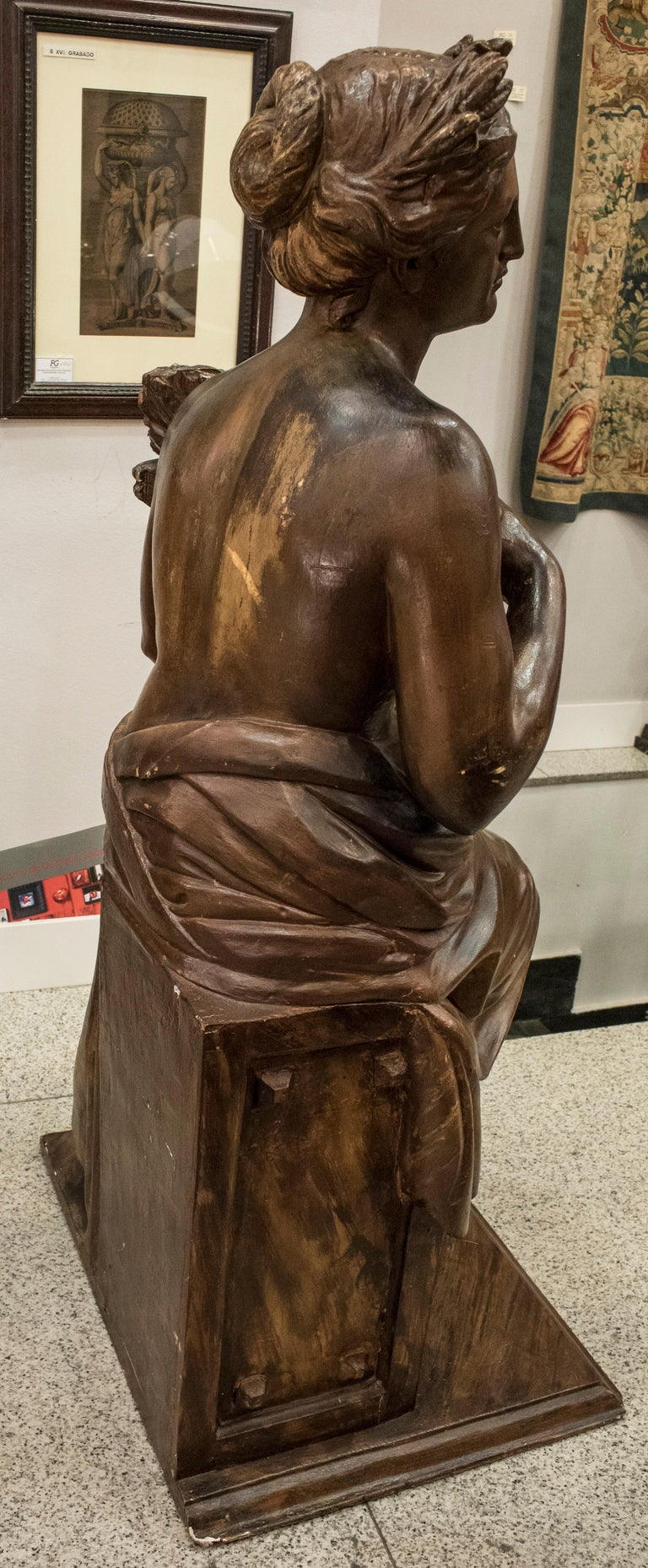 19th Century French Napoleón III Walnut Wood Sculpture, Allegory of Summer For Sale 2