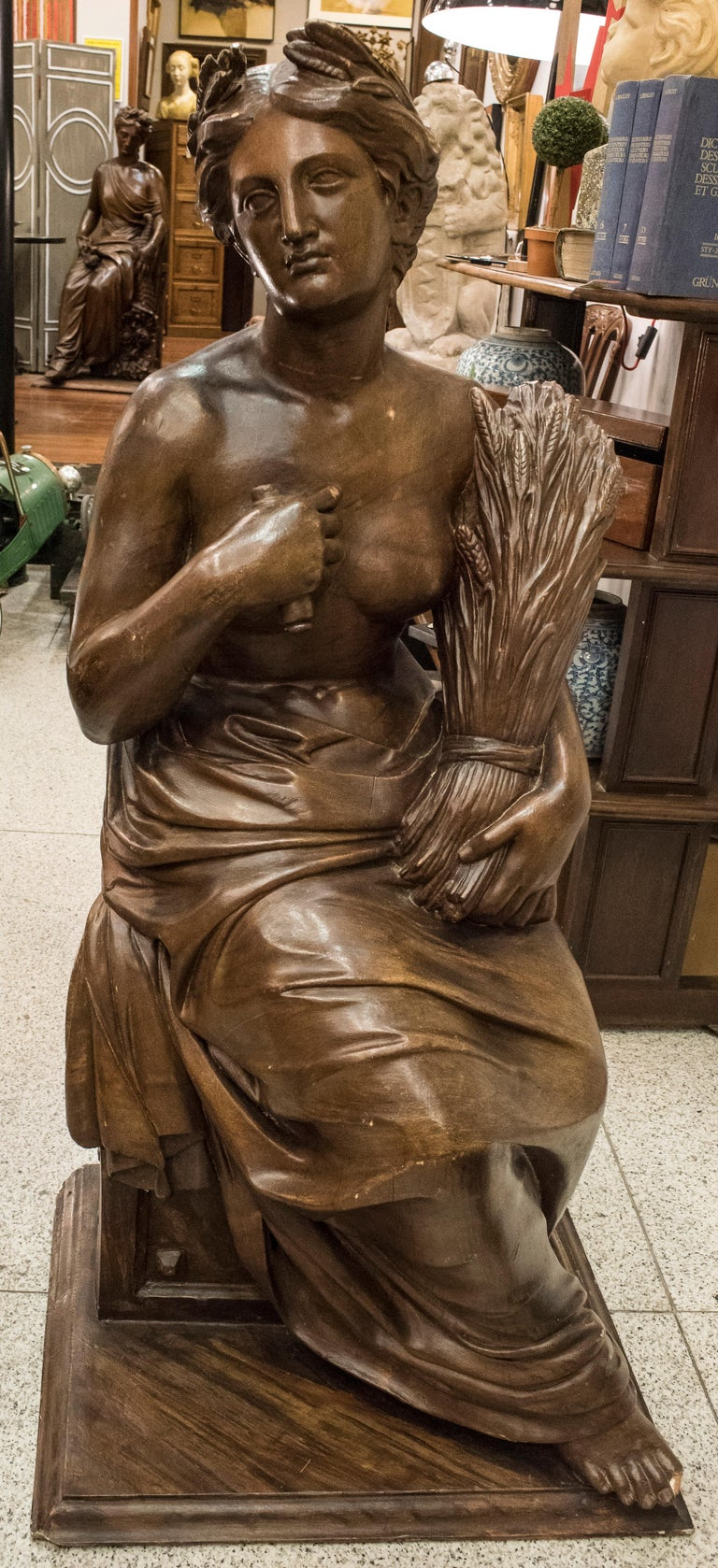 19th Century French Napoleón III Walnut Wood Sculpture, Allegory of Summer For Sale 3