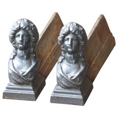19th Century French Napoleon III 'Woman' Andirons or Firedogs