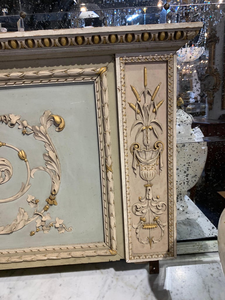 19th Century French Neoclassical Carved and Painted Panel In Good Condition For Sale In Dallas, TX