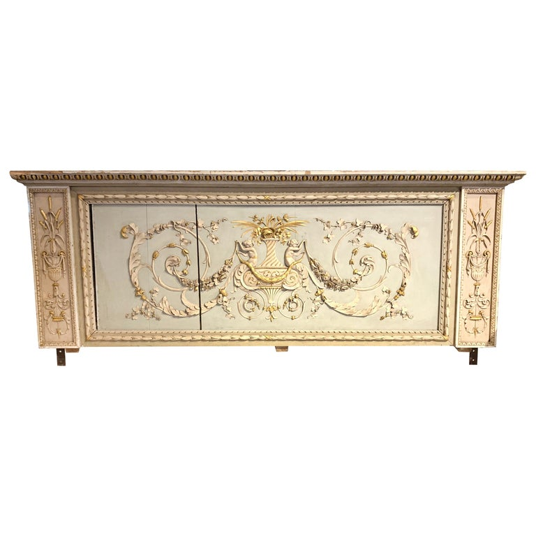 19th Century French Neoclassical Carved and Painted Panel For Sale