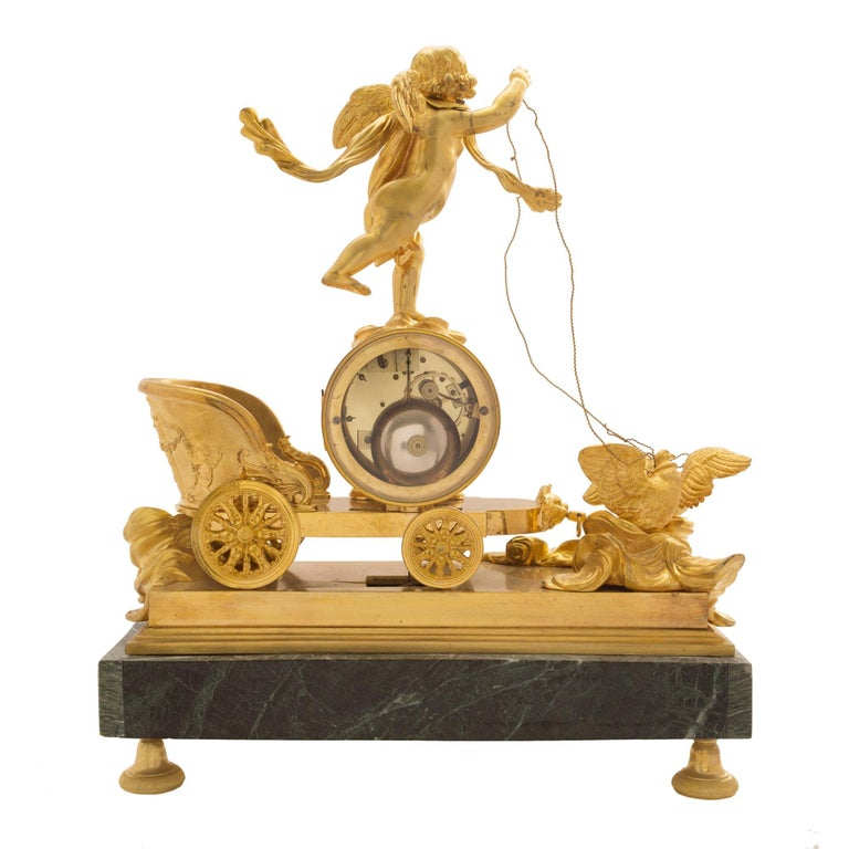 19th Century French Neoclassical Empire Style Ormolu and Marble Clock For Sale 1