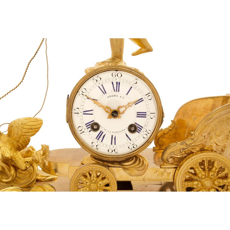 19th Century French Neoclassical Empire Style Ormolu and Marble Clock For Sale 3