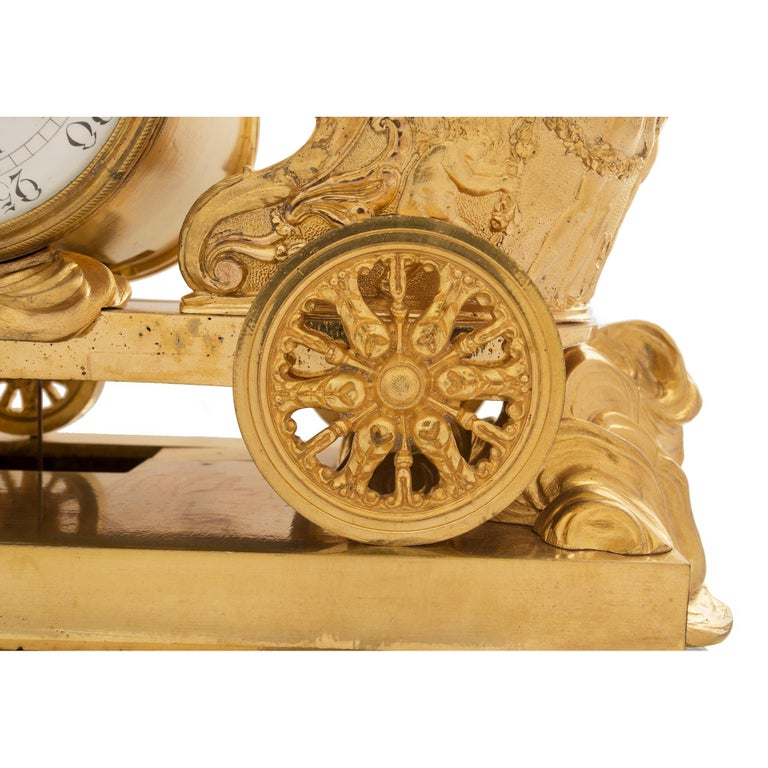 19th Century French Neoclassical Empire Style Ormolu and Marble Clock For Sale 5