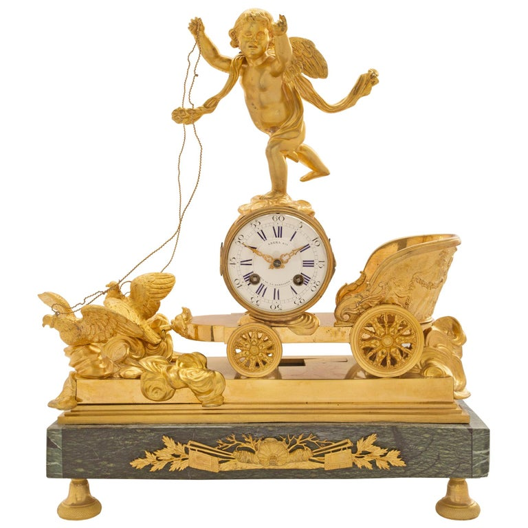 19th Century French Neoclassical Empire Style Ormolu and Marble Clock For Sale