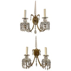19th Century French Neoclassical Gilt Bronze and Crystal Sconces