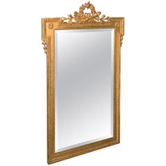 19th Century French Neoclassical Gilt Mirror with Original Bevelled Glass