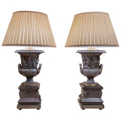 19th Century French Neoclassical Patinated Bronze Urn Lamps after Barbedienne