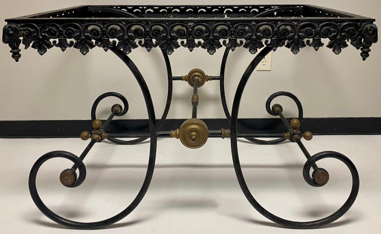 19th Century French Neoclassical Ram's Head Iron & Marble Baker's Table For Sale 7