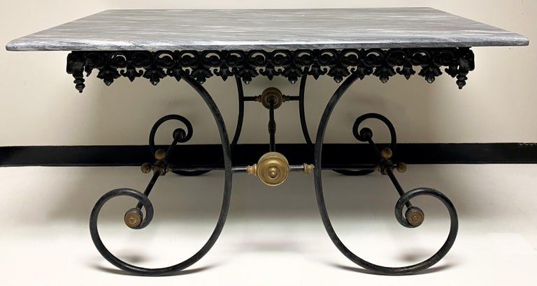 19th Century French Neoclassical Ram's Head Iron & Marble Baker's Table For Sale 2
