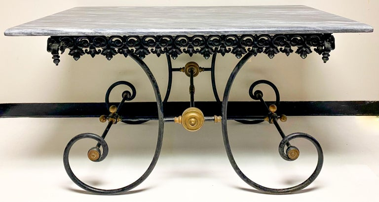 19th Century French Neoclassical Ram's Head Iron & Marble Baker's Table For Sale 5