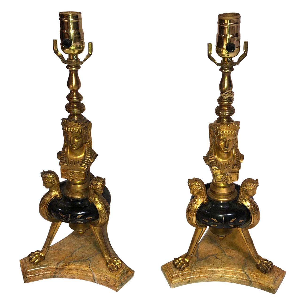 19th Century French Neoclassic Marble Bronze Doré Lamps