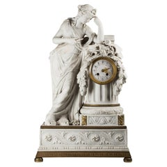 19th Century French Neoclassical Bisque Porcelain Mantel Clock with Muse Clio