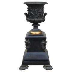 19th Century French Neoclassical Bronze Urn with Mythological Relief