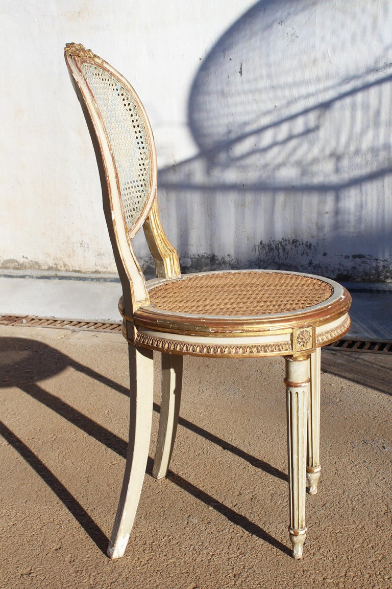 19th Century French Neoclassical Cane Back Chair In Good Condition For Sale In Malaga, ES