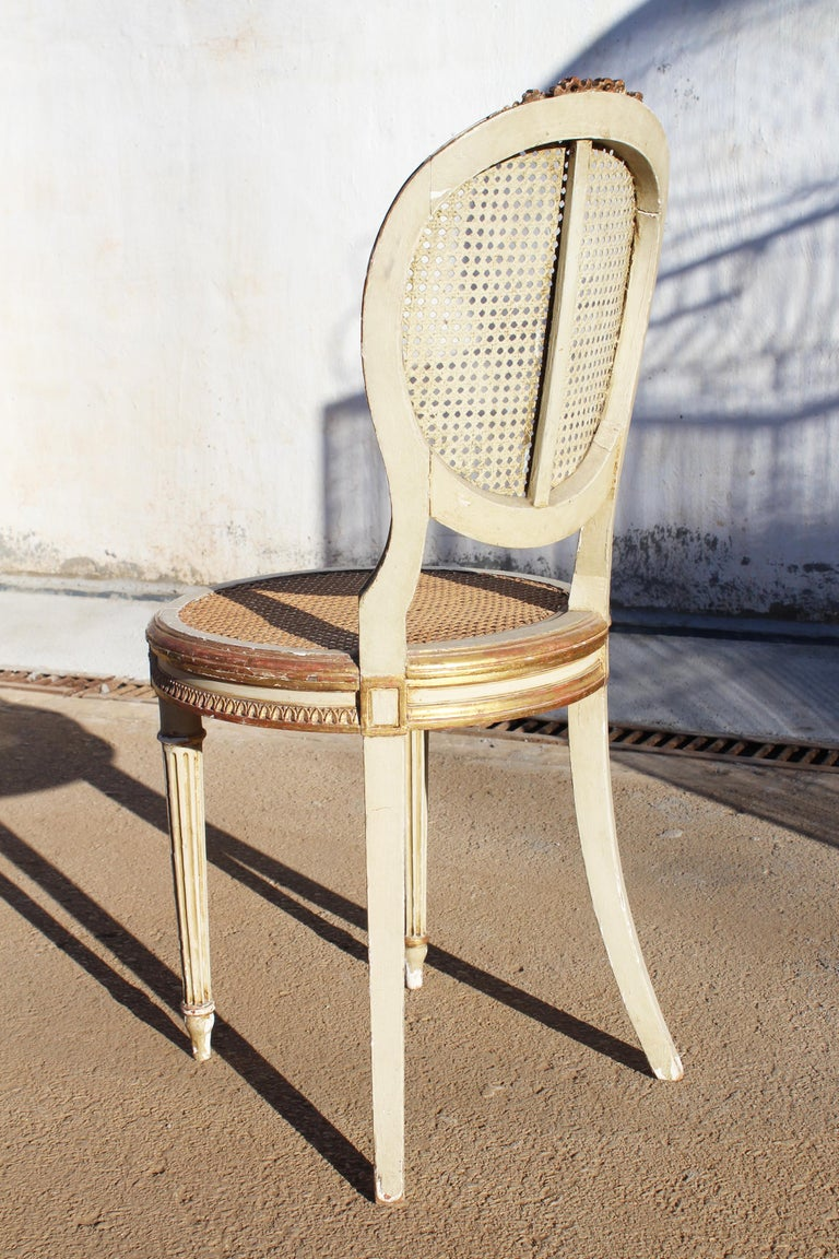 19th Century French Neoclassical Cane Back Chair For Sale 2