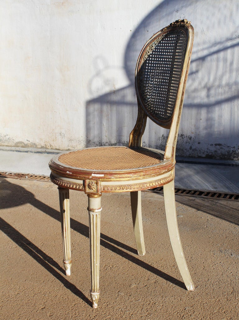 19th Century French Neoclassical Cane Back Chair For Sale 4