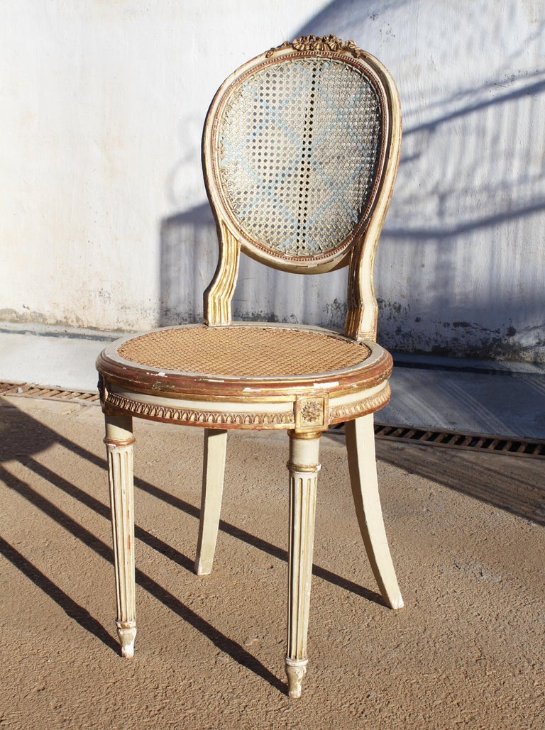 19th Century French Neoclassical Cane Back Chair For Sale 5