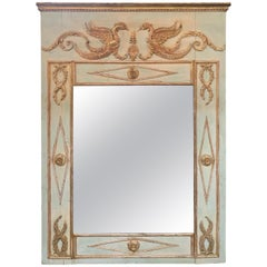 19th Century French Neoclassical Carved and Parcel Gilt Trumeau Mirror