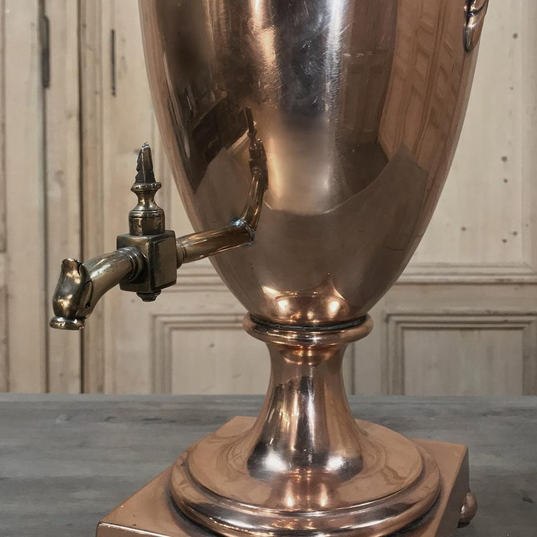 Neoclassical Revival 19th Century French Neoclassical Copper and Brass Tea Server or Coffee Urn For Sale