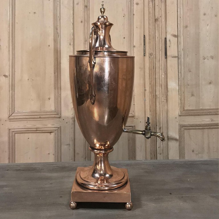 19th Century French Neoclassical Copper and Brass Tea Server or Coffee Urn For Sale 3