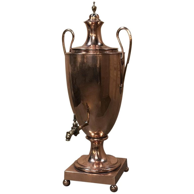 19th Century French Neoclassical Copper and Brass Tea Server or Coffee Urn For Sale