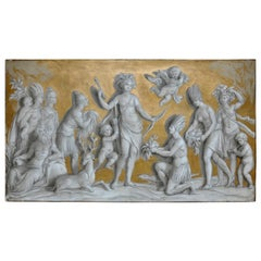 19th Century French Neoclassical Grisaille over Door Panel of the Americas