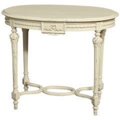 19th Century French Neoclassical Oval Painted End Table