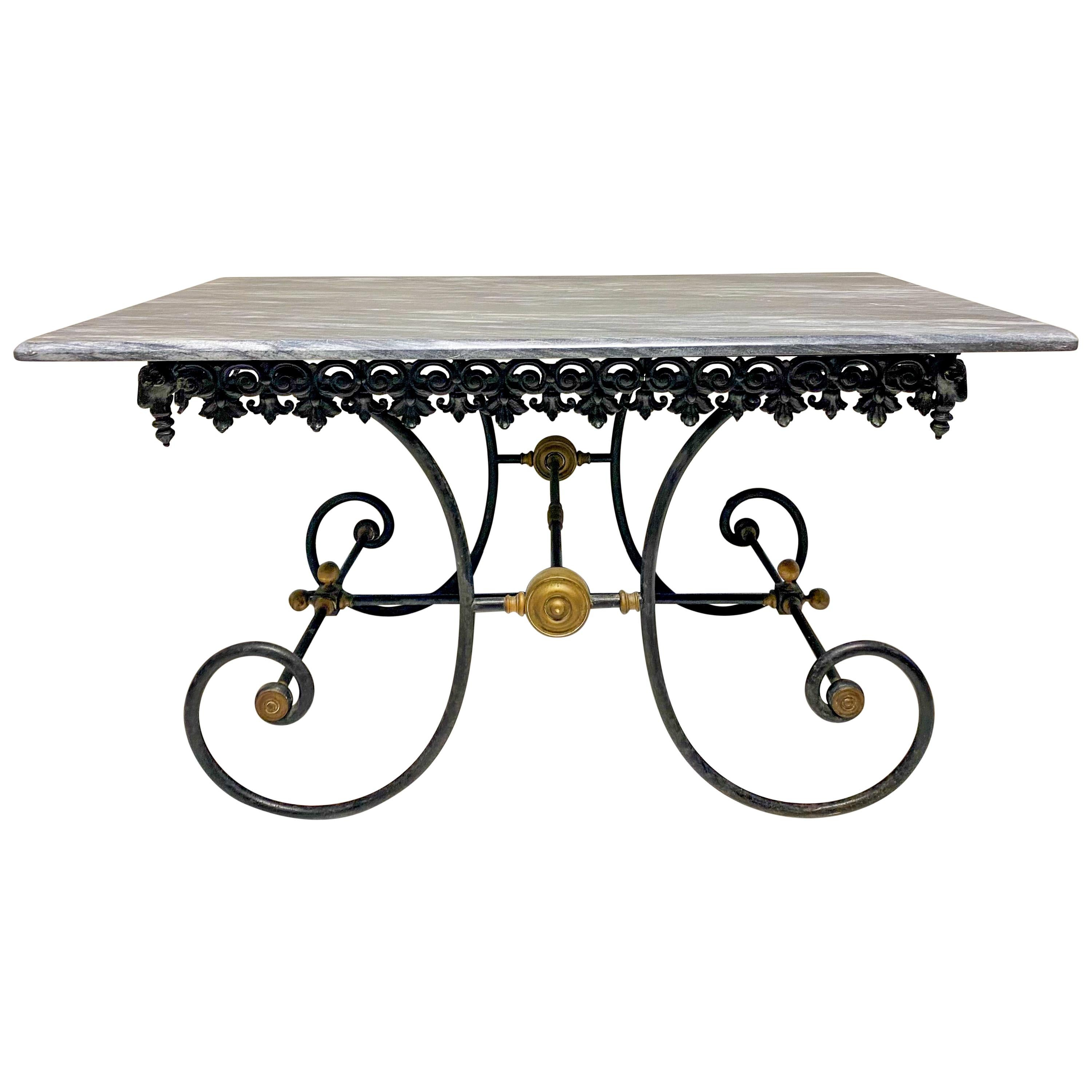 19th Century French Neoclassical Ram's Head Iron & Marble Baker's Table