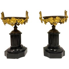 19th Century French Neoclassical Style Gilt Bronze and Marble Garnitures, a Pair