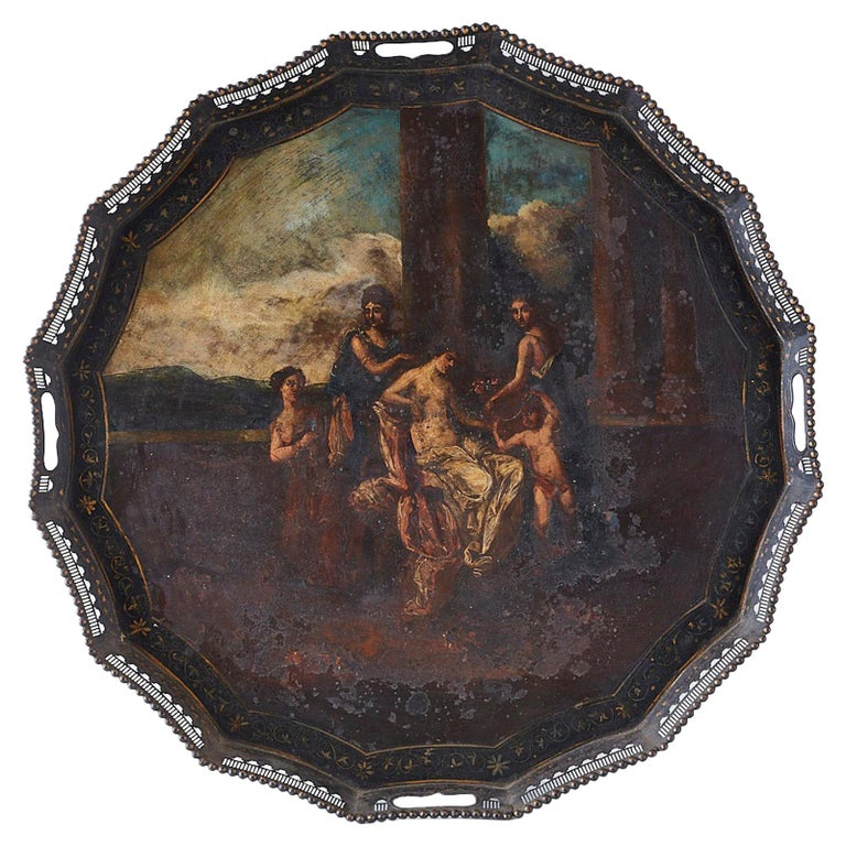 19th Century French Neoclassical Style Tole Tray For Sale