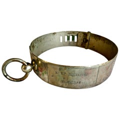19th Century French Nickel Silver Hunting Dog Collar with Engraved Provenance