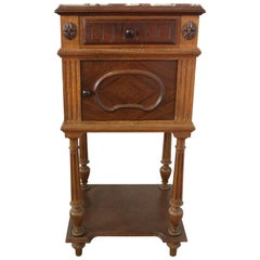 19th Century French Nightstand Side Cabinet Bedside Table Walnut Marble Top