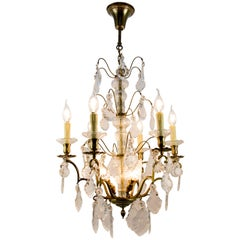 19th Century French Nine–Light Brass and Crystal Chandelier