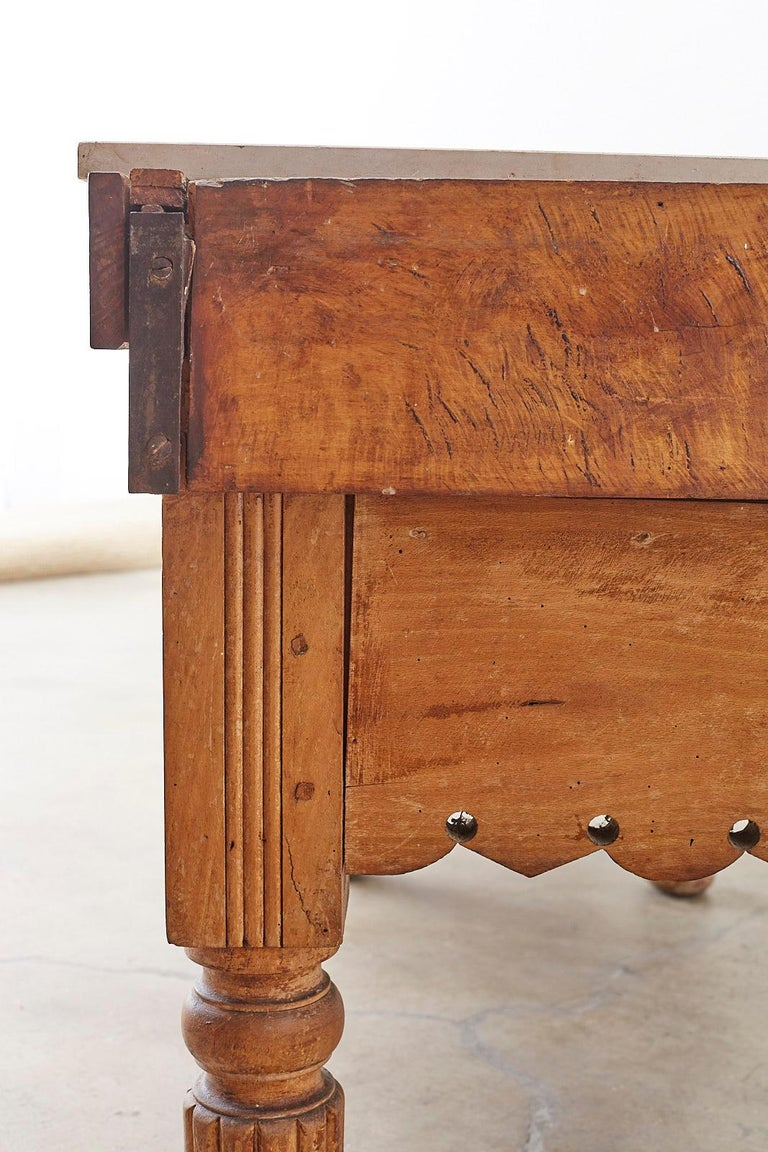 19th Century French Oak Butcher Block Work Table For Sale ...