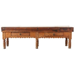19th Century French Oak Butcher Block Work Table