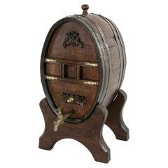19th Century French Oak Calvados Barrel, Iron Straps, Bronze Spigot