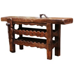 19th Century French Oak Carpenter Press Table with 18 Bottles Storage Rack