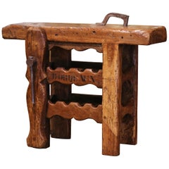 19th Century French Oak Carpenter Press Table with Four-Bottle Storage Rack