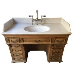 19th Century French Oak Cupboard Sink with Drawers and Carrara Marble Top, 1890s