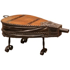 19th Century French Oak, Iron and Leather Blacksmith Bellows Coffee Table