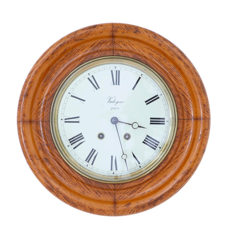 19th century French oak Japy Freres wall clock valogne, Paris, circa 1890.