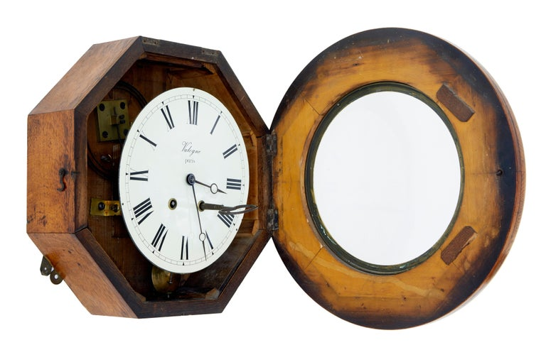 Arts and Crafts 19th Century French Oak Japy Freres Wall Clock Valogne Paris For Sale