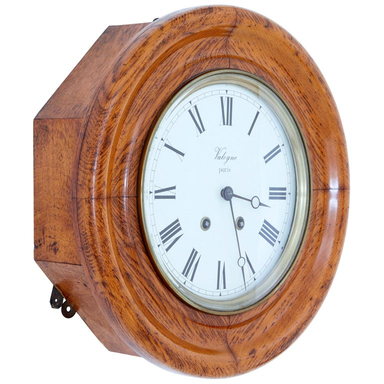 19th Century French Oak Japy Freres Wall Clock Valogne Paris For Sale