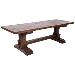19th Century French Oak Monastery Trestle Dining Table