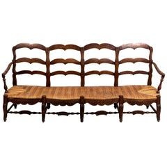 19th Century French Oak Rushed Seat Settee