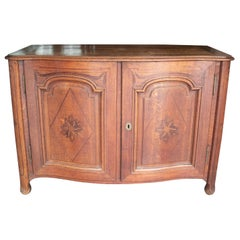 19th Century French Oak Two-Door Chest with Satinwood Inlay