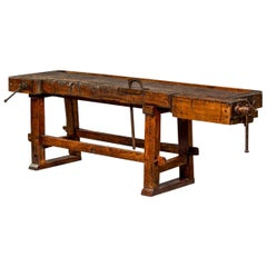 19th Century French Oak Work Bench with Vise